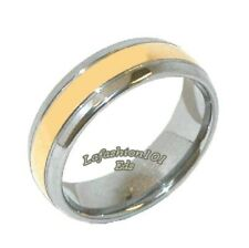 Classic Tungsten Carbide Gold IP Stripe Center Wedding/Engagement Ring SZ 5-13