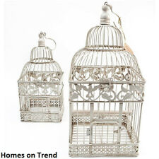 Decorative Square Ivory Metal Bird cage Vintage Chic Wedding Table Centerpiece