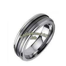 6mm Tungsten Carbide Center Grooved Mens Wedding Ring SIZE 9,10,11,12,13