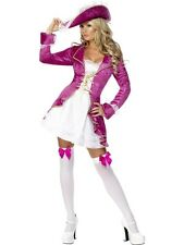 LADIES FEVER PINK PIRATE TREASURE OUTFIT JACKET FANCY DRESS COSTUME with HAT NEW