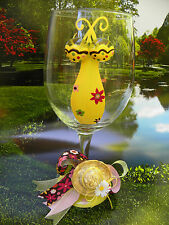 Floral Hand Painted Wine Glasses Gift Elegant Unique Fun Classy Garden Ladies