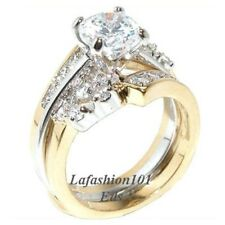 1.38ct Round cut CZ Womens TWO TONE GOLD PLATED RING SET SIZE 5,6,7,8,9,10