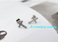 Korean Drama Fashion Simply Cross with FULL CZ Gems Studs Made in Korea 2PM DBSK