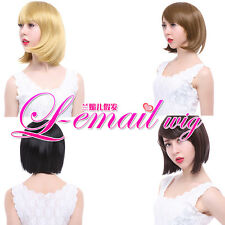 New charming fashion short straight side bangs styled 4 colors hair+wig cap FS01