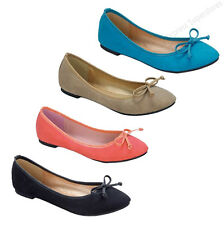 New Womens Flats Ballet Ribbon Bow Tie Shoes Black Beige Coral Blue Fashion Size
