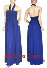 Sexy Blue Chiffon Long Formal Evening Bridesmaid Dress Gown Halter Size 8 12 New