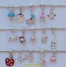 1 or 4 x Silver Plated Charm Bracelet Dangle Beads on Bail or Lobster Clasp Clip