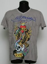 Men's Ed Hardy Christian Audigier GRAY NEW YORK CITY V-NECK  t-shirt ,M-,XXL