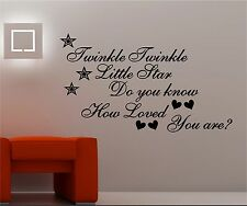 TWINKLE TWINKLE  wall art vinyl kids bedroom quote DO YOU KNOW HOW LOVED YOU ARE