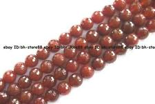 4,6,8,10,12,14,16mm red Agate round facted Beads 15""