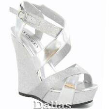 LADIES WEDDING SHOES WOMENS HIGH HEELS EVENING PLATFORM PARTY WEDGE SANDALS SIZE