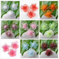 60pcs/200pcs Satin Ribbon Fashion Flower With Beads Appliques 9 Colours K7570