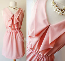 NEW Soft Pink Ruffle Draped Collar Elasticized Waist with Pockets Casual Dress