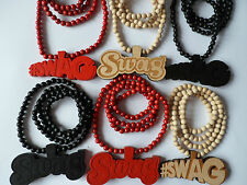 "red natural black wooden swag #swag pendant 33"" wood rosary bead necklace chain"