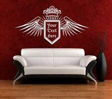 Wall Art sticker decal vinyl Crown Wings Shield Text Logo Crest - 3 Sizes