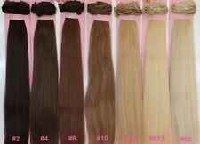 "24"" RARE! DELUXE SET CLIP ON HUMAN HAIR EXTENSIONS 260 GRAMS BLONDE BROWN BLACK"
