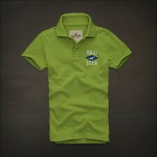 NWT Hollister HCO Men's Logo Muscle Polo S M Tee Shirt Top Green Stretch NEW