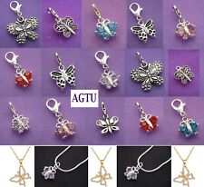 YOU PICK ~ Clip On Silver Plated Crystal Butterfly Charm Blue Red Pink Clear