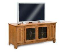 Amish Plasma TV Stand Solid Oak Wood LCD LED Console Media Cabinet Storage New