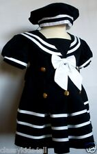Baby Girl Toddler Formal Nautical Sailor Dress Navy Blue with Hat Size:(0-24M)