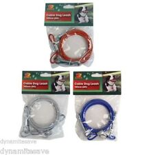 6FT PET DOG TIE OUT CABLE LEAD LEASH GARDEN DOG PUPPY EXTENSION CHEW PROOF WIRE