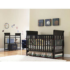 New Convertible Baby Nursery Crib in Espresso Brown Finish, Changing Table Set