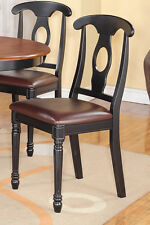4 NAPOLEON DINING KITCHEN DINETTE WOOD OR LEATHER UPHOLSTER SEAT CHAIR IN BLACK