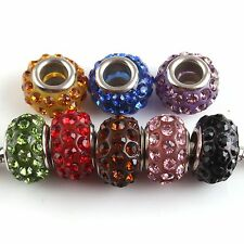 FREE SHIP 5 Colorful Rhinestone Beads Charms Fit European Bracelets Color Choice