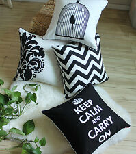 Fasion Black and White Bird Cage Flower Zig Zag Keep Calm Cotton Cushion Covers