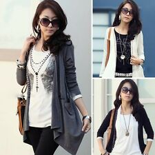 New Women Long Sleeve Cotton Casual Autumn Tops Cardigan Jacket Coat Gray Size M