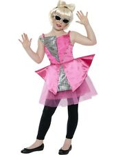 GIRLS DANCE DIVA FANCY DRESS COSTUME LADY GAGA POP PRINCESS PINK SILVER OUTFIT