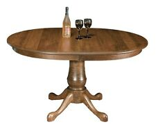 Amish Pedestal Dining Table Traditional Country Rustic Solid Wood Furniture Leaf