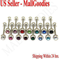 V096 Surgical Steel Gem Jewels Tongue Rings Barbells Metal Bars PICK YOUR COLORS
