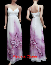 Cocktail Evening Bridesmaid Maxi Dress White Purple Size 22 20 18 16 14 12 10