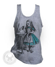 DRINK ME Vintage Alice in Wonderland American Apparel TR408 Tri-Blend Tank Top
