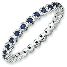 Silver Stackable Ring Round Created Sapphire Stones, September Birthstone QSK358