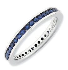 Silver Stackable Ring Round Created Sapphire Stones, September Birthstone QSK659