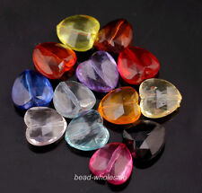 50pcs Mixed Color Clear Acrylic Faceted Heart-Shaped Spacer Beads For Jewelry