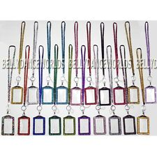 BLING RHINESTONE CRYSTAL CUSTOM LANYARDS ID BADGE CELL PHONE & KEY HOLDER SET