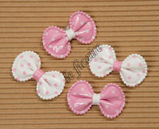 "U PICK COLOR~ 1.5"" Polka Dots PVC Bow Ties Appliques Embellishments x 40 #3981"