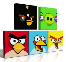 5 X DEEP EDGE CANVAS PICTURES ANGRY BIRDS  FREE P&P NEW