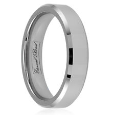 ANIMO-6MM Tungsten Carbide 6mm Beveled  Edged Wedding Band Ring