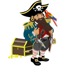 stickers pirate coffre er perroquet ref3   taille aux choix