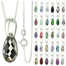 925 Sterling Silver Briolette Smokey Quartz Crystal Pendant Necklace