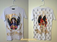 "Christian Audigier Rhinestone WHITE Angles & Roses ""City of Angles"" T-Shirt Tee"
