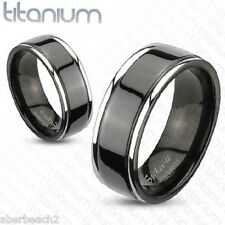 SOLID 2-Tone Titanium Black IP center Grooved 6mm or 8mm Band Ring S1