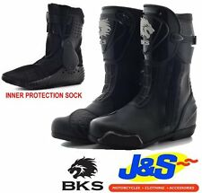 BKS N-107 OULTON RACE MOTORCYCLE BOOT MOTORBIKE RACING BOOTS BLACK LEATHER J&S