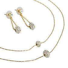 Crystals Charm Chain Necklace Earrings Jewellery Set,Silver Gold Under £35 Gift