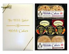 """Tea for 4"" - Delicious Gift Box of 12 Hand Griddled Welsh Cakes with Jam & Tea"