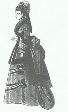 1874 Promenade Dress pattern For French Fashion doll size 12 - 24 inches #132